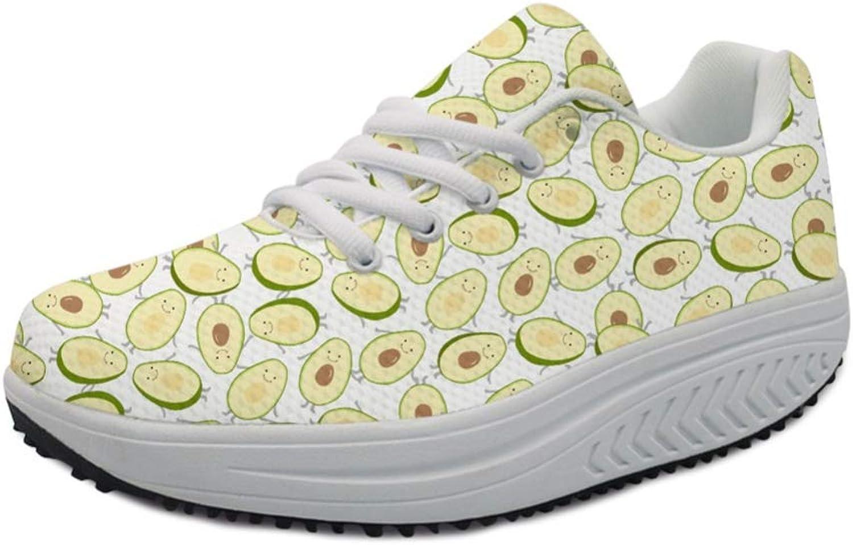 T-JULY Women's Flats Sneakers shoes Avocado Fruit Printing Tenis Feminino Wedge Sneakers Height Increasing Swing shoes Ladies
