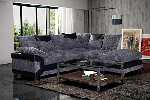 Red Fern Black & Grey Fabric Jumbo Cord Sofa Settee Couch 3+2 Seater Footstool Left Hand Right Hand Corner Sectional Couch Set (Right Hand Corner, Black & Grey)