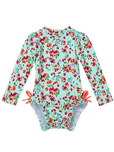 MSemis Traje de Baño Protección Solar para Bebé Niñas Bañador Estampado Flores Camiseta de Piscina Anti UV Manga Larga Ropa Una Pieza de Playa Turquesa 18-24 Meses