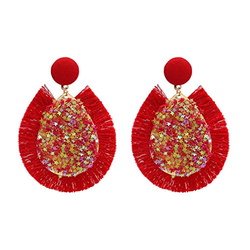 Yazilind mujeres gota cuelgan stud pendientes lágrima piedra natural estrella lentejuelas borlas étnico vintage boho shiny retro joyería rojo