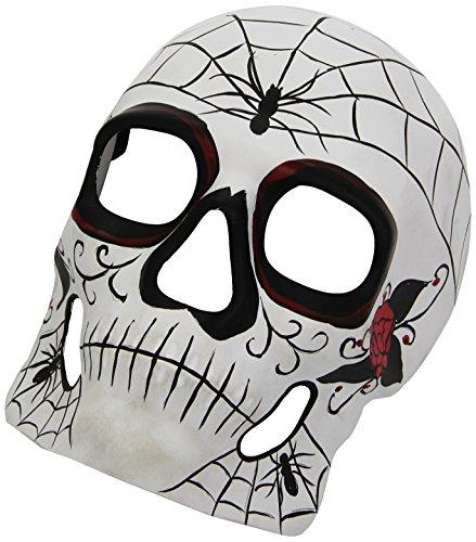 Carnival - 00717 - Masque - Crane blanc décor squelette mexicain noir et Rouge plastique épais rigide