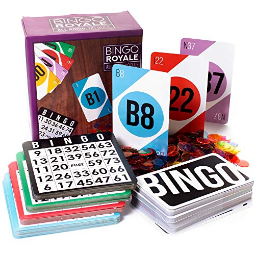Bingo Royale Bundle - Complete Bingo Set With 1,000 Chips, 100 Cards, and Jumbo Deck of Calling Cards - All-Inclusive Kit for Schools, Rec Centers, Senior Homes, Charity Events, and Large Group Games