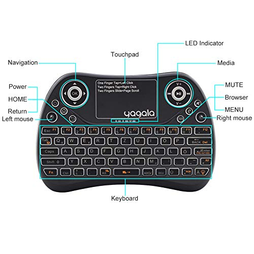 YAGALA Mini Tastatur Wireless mit Touchpad Mouse Combo, 2.4GHz QWERTZ Deutsch Tastaturlayout, Smart TV Tastatur Fernbedienung für Android TV Box, HTPC, IPTV, XBOX360, PC, PAD
