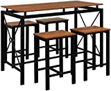 Henf Pub Table Set 5 Piece Bar Table and Chairs, Contemporary Dining Table Set, High Bar Table and Chair Set for Home Kitchen Breakfast Dining, Red Brown