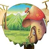 VICWOWONE - Mantel redondo de setas de 35 pulgadas para casa de Shroom House Land Mountain Daisies Weeds alrededor de bosques y montañas, disfrutar de cenar escarlata, marrón pálido verde
