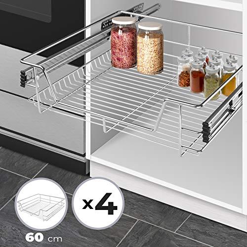 Jago Cassetto Estraibile per Cucina - Larghezza (30/40/50/60cm) e Set (1-5) a Scelta, con Guide Scorrevoli, Metallo Cromato - Cestello, Cesto, Cassetto Telescopico (4 Pz, per Mobili di 60 cm)
