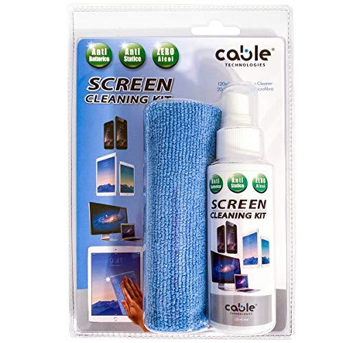 Screen Cleaning Kit Pulizia Schermo BIO -Spray 120 ml + Panno Microfibra(20X28), Antibatterico CERTIFICATO Disinfettante igienizzante, Pulizia perfetta tutti Schermi e Display senza striature,striscie