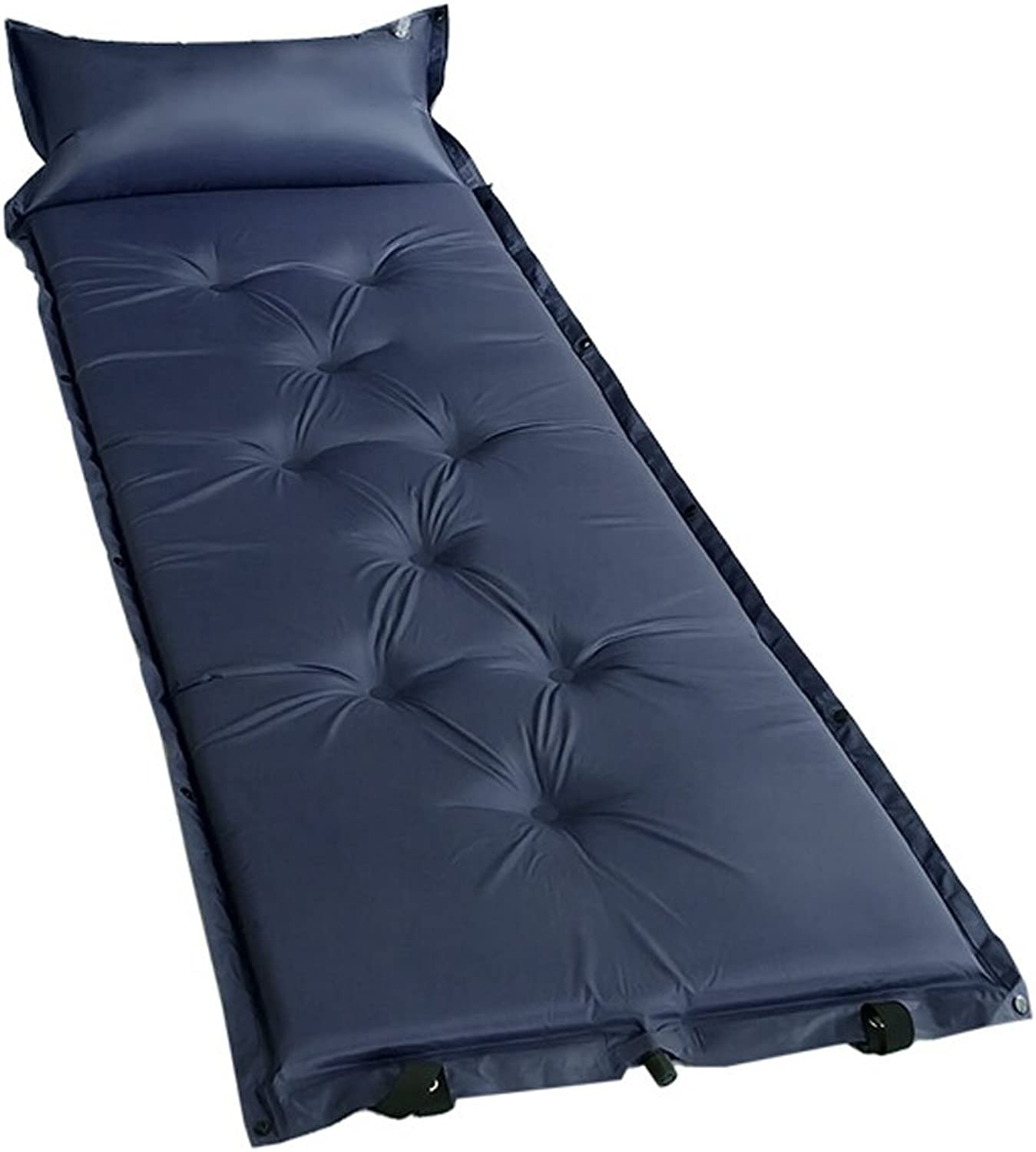 Portable Camping Sleeping Air Pad Mattress With Inflatable Pillow DARK blueE A