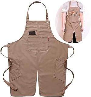 DHRH DHRH Küchen-Kochschürze  Schürze - Split-Leg - Einstellbar für Männer und Frauen - Pro Friseur, Tätowierung, Barista, Barkeeper, Bäcker, Friseur, Server-Schürze, Khaki