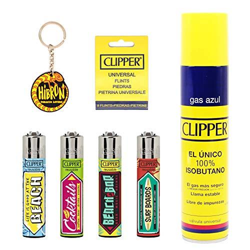 Clipper 4 Mecheros Encendedores Diversos Surtidos Bonitos Baratos,1 Carga Gas Encendedor Clipper 300 Ml,9uds De Piedra Clipper Y 1 Llavero Hibron Gratis 1-10003-6