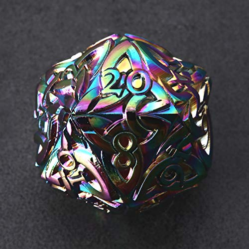 Endless Chaos Dice (Rainbow) D20 Dice with Celtic Knots Solid Metal Extra Large Extra Heavy for DnD Dungeons and Dragon Call of Cthulhu Pathfinder RPG Polyhedral Dice Bard Dice Sorcerer Wizard Dice
