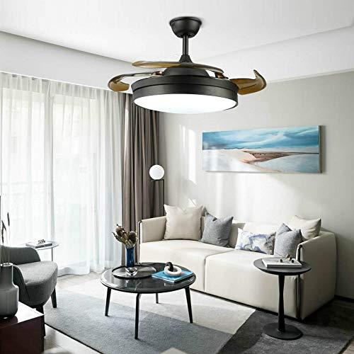 Ventilador de techo de 100 cm, regulable, cambio de color, 4 aspas retráctiles + mando a distancia, silencioso, regulador de intensidad LED tricolor, velocidad del viento ajustable