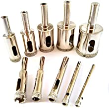 Drilax Diamond Drill Bit 10 Pieces Set 5/32 3/16 1/4 5/16 3/8 1/2 5/8 3/4 7/8 1 Inch Tile Glass Fish Tank Granite Ceramic Porcelain Bottle DIY Kitchen Bathroom Shower Lamps