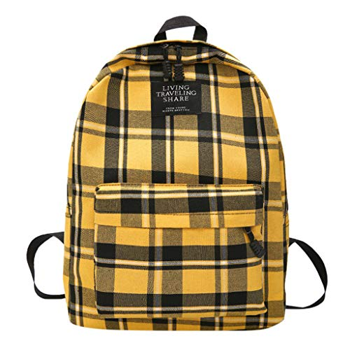 Unisex Plaid Printed Canvas Backpack Rucksack Casual Daypack Travel Camping Women Classic Lightweight School Bags for Teenage Girls (Yellow)