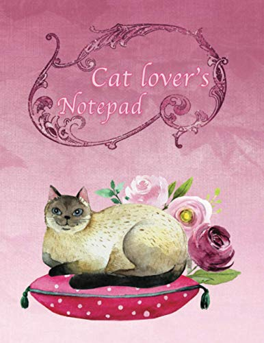 Cat Lovers Notepad: Cat Journal lined notebook: Beautiful cat notebook lined 8 x 10 inches with small cat motifs inside