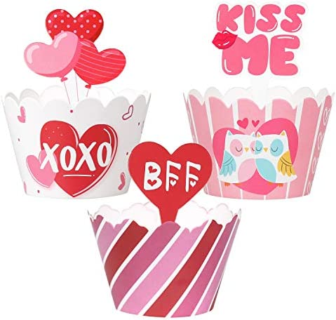 Valentine s Day Cupcake Toppers Wrappers Cake Decorations Party Supplies 60Ct product image