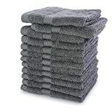 """Villa Celestia Wash Clothes for Body and Face- 100% Cotton Soft and Luxury Grey Face Towel, Pack of 12 Highly Absorbent 650 GSM Wash Cloth for Hotels and Salons (12""""X12"""")"""