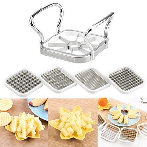 5pcs/set Vegetable & Fruits Cutter Slicer Stainless Steel for Apple Pear Potato Chips Multi-Functional Kitchen Utensils Tools