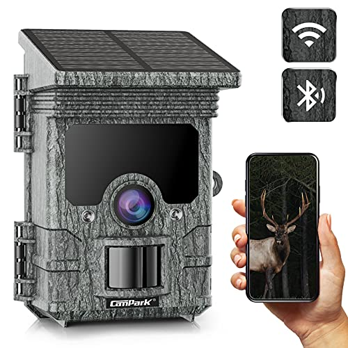 Campark Solar Powered WiFi Bluetooth Trail Camera 2K 24MP Game Camera with Night Vision IP66 Waterproof Hunting Scouting Camera with 120°PIR Range for Wildlife Monitoring Property Security