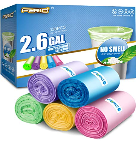 Small Trash Bags 2.6 Gallon Garbage Bags FORID Trash Can Liners 330 Counts in 10 Rolls 5 Color Tiny & Strong for Home Bathroom Bedroom Car 10 Liters …