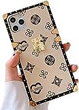 Kompatibel mit iPhone 12 Quadratische Hülle, Designer Luxus Stilvolle Cover Hülle Retro Elegant Monogramm Stoßfest Schutzhülle Cover 6.1 (Elfenbein)
