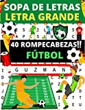 Sopa de letras Letra grande: 40 rompecabezas para adultos y niños sobre el tema del fútbol: encontrar los nombres de los jugadores de 40 equipos. Soluciones al final del libro.