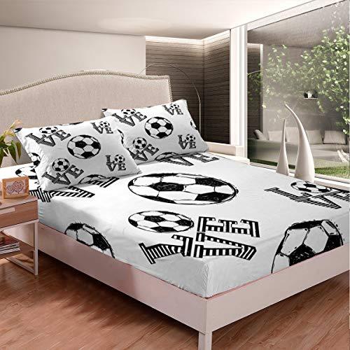 Juego de sábanas de fútbol para niños y adolescentes, diseño de balón de fútbol, sábana bajera con estampado de balón de fútbol, 3 piezas de sábanas de tamaño doble, color blanco