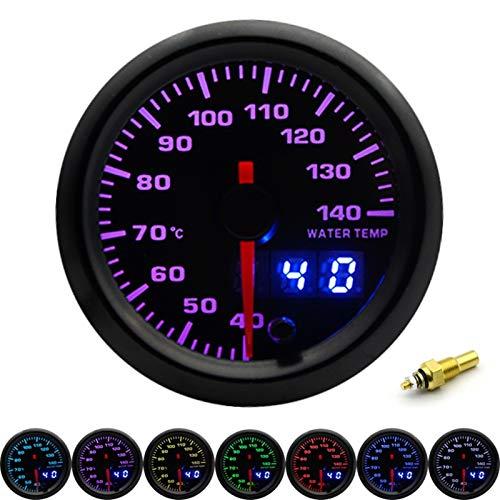 WangQianNan Alta precisión 2'52mm 7 Colores LED Dual Pantalla Boost/Agua/TEMPA DE Agua/PRESIÓN DE Aceite/VOLTO/RELACIÓN DE Combustible/EGT/Tacómetro Medidor de automóviles + GAIO PODERS Fácil de in