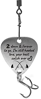 2 Year Anniversary Gifts 2 Down & Forever to Go I'm Still Hooked Love Your Best Catch Ever Fishing Lure,Christmas Valentines's Day Fisherman Gifts for Husband and Boyfriend