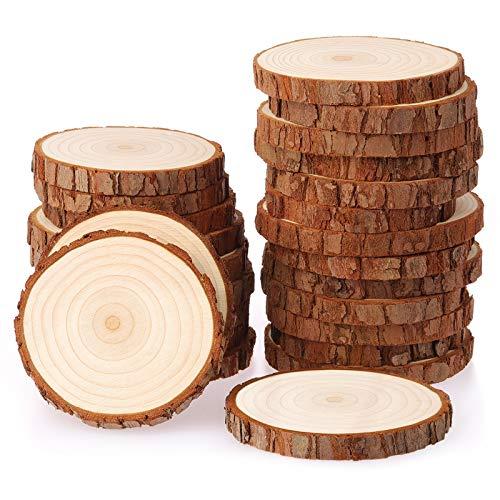 Fuyit Holzscheiben 25 Stücke Holz Log Scheiben 8-9cm Unvollendete Holzkreise Ungebohrte Holzkreise ohne Loch für DIY Handwerk Holz-Scheiben Hochzeit Mittelstücke Weihnachten Dekoration Baumscheibe