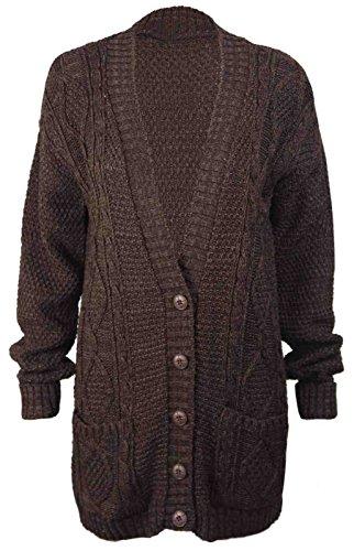 Nuovo da donna a maniche lunghe pulsante donna, Aran cavo Knit Cardigan Nonno Marrone marrone scuro