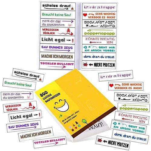 800x Lustige Haftnotizen - die bunten Klebezettel (16x50 Blatt) sind die Geschenk Idee für Studenten u. Büro Kollegen - die Sticky Notes u. Page Marker als Büro Gadgets zum Markieren und Geschenk Idee