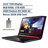 2020 Acer Nitro 5 15.6' FHD Gaming Laptop Computer, AMD Ryzen 5 2500U Processor, 8GB DDR4 RAM, 1TB HDD, AMD Radeon RX 560X 4GB Graphics, HD Webcam, Windows 10, Black & Red, Snow Bell 32GB USB Card