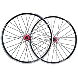 MTB Bike Wheelset 26 Inch, Double Wall Aluminum Alloy Sealed Bearings Disc Brake/V Brake 32 Hole 7/8/9/10 Speed Cycling Wheel (Color : Black)