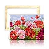 decalmile Pintura por Número de Kits DIY Pintura al óleo para Adultos Flores de Amapola Rojas 16'X 20' (40 x 50 cm, con Marco de Madera)