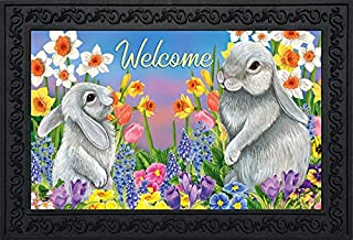 """Briarwood Lane Spring Friends Bunnies Doormat Easter Welcome Floral 18"""" x 30"""""""