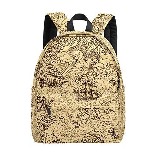 Large Laptop Bag Nautical Explore Vintage Map School Bags for Girls Lightweight Bookbags Travel Bag Laptop Backpack for Boys Men Women