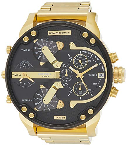 Diesel Men's Mr Daddy 2.0 Quartz Stainless Steel Chronograph Watch, Color: Gold-Tone (Model: DZ7333)