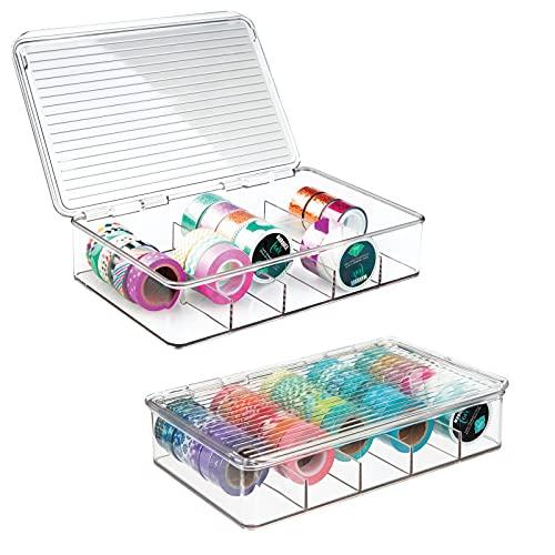 mDesign Organizador de manualidades – Fantástica caja de plástico con 5 compartimentos – Ideal para guardar goma eva, abalorios, cintas decorativas, etc. – Transparente - Paquete de 2