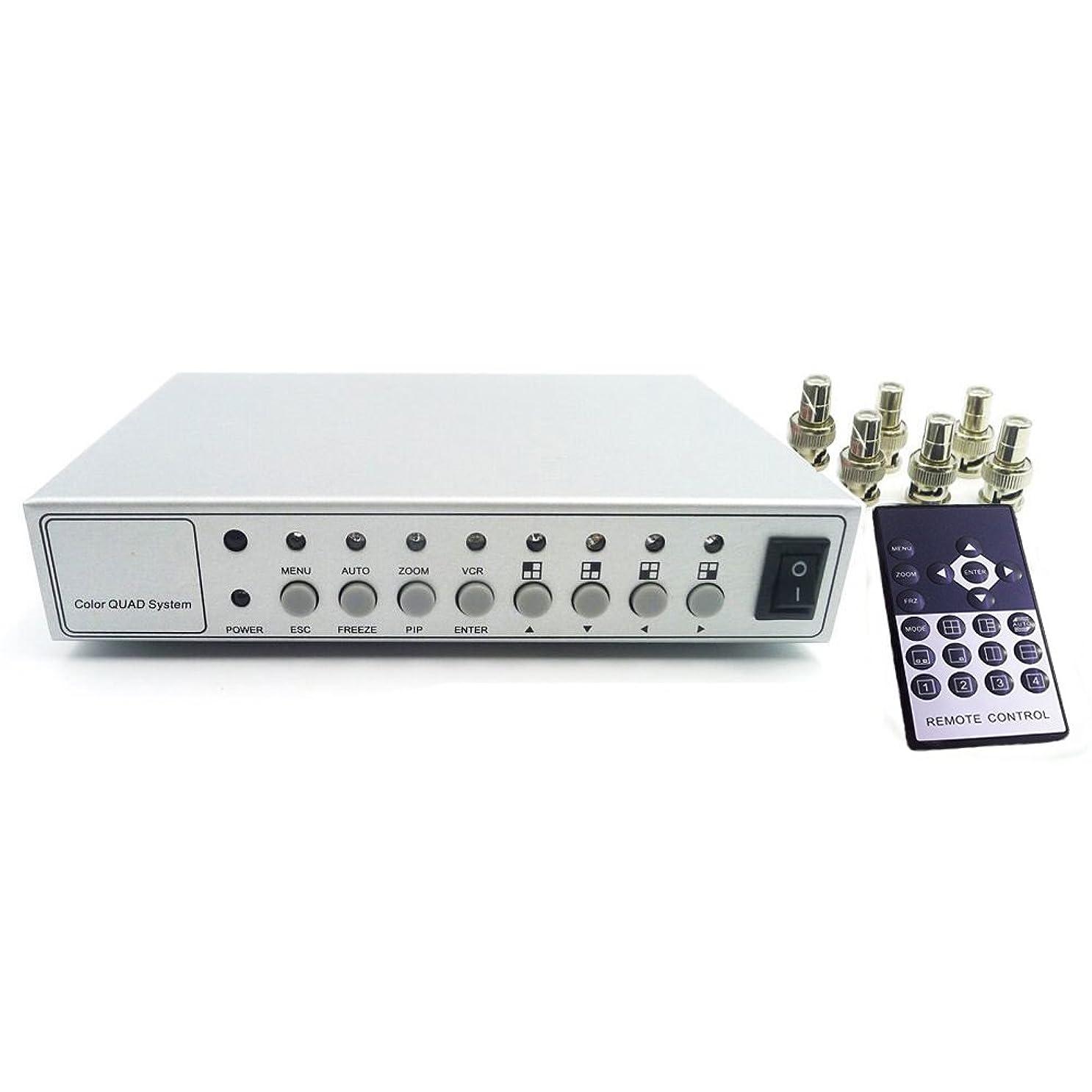 めまい疑い者手当Podofo カラー画面分割器 モニター増設用 映像分配器 4CH 6BNC接続 ビデオ/ DVR /CCTV/カメラ対応