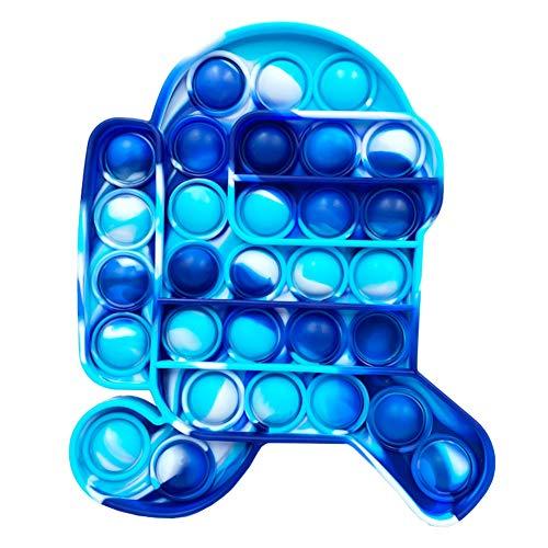 Garlic Press Among Us Push Pop Pop Bubble Fidget Sensory Toy Pop it Spielzeug Anti Stress Spielzeug Squeeze Toy Zappeln Spielzeug für Kinder und Erwachsene (Tarnung blau)