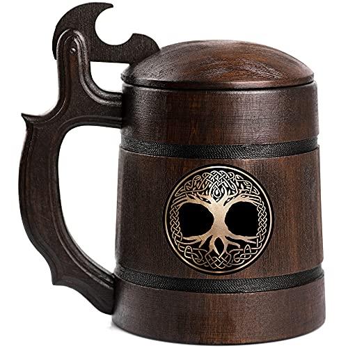 Celtic Sign Beer Stein, Tree Of Life Wooden Beer Mug, Custom Crann Bethadh Beer Stein, Gift For Boyfriend, Beer Tankard, Gift for Men, Gift for Him