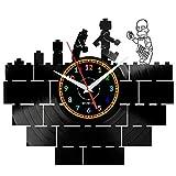 LEGO SIMPSONS Reloj De Pared Vintage Accesorios De Decoración del Hogar Diseño Moderno Reloj De Vinilo Colgante Reloj De Pared Reloj Único 12' Idea de Regalo Creativo vinilo pared Reloj LEGO SIMPSONS