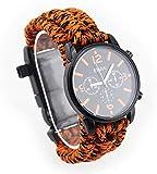 Outdoor Adventure Reloj multifunción, cuerda de siete núcleos, termómetro, silbato, brújula, impermeable y resistente a los golpes, color naranja y negro