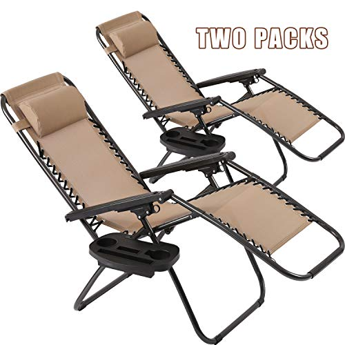 Vnewone Patio Chairs Set of 2 Zero Gravity Chair Folding Chairs Outdoor Chairs Anti Gravity Chair Reclining Outdoor Folding Chairs Lounge Chair Deck Chairs Foldable Yard with Pillow Cup Holder (Tan)