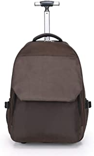 TYUIO New Antifouling Design Human Engineering Design Laptop Wheeled Rolling Backpack Luggage for Girls (Color : Brown)