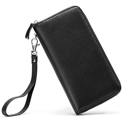 Womens Wallet RFID Blocking Genuine Leather Zip Around Wallet Clutch Wristlet Travel Long Purse for Women Black