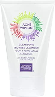 Acne Wipeout Oil-Free Pore Cleanser - Gentle Exfoliating Jojoba Gel - Works Day and Night to Target Comedonal Acne Quickly - Anti-Inflammatory and Antibacterial