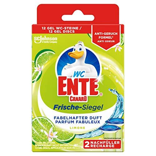 WC Ente Frische-Siegel, Nachfüller für den WC Stein aus Gel, Limone, 5er Pack (5 x 72 ml)