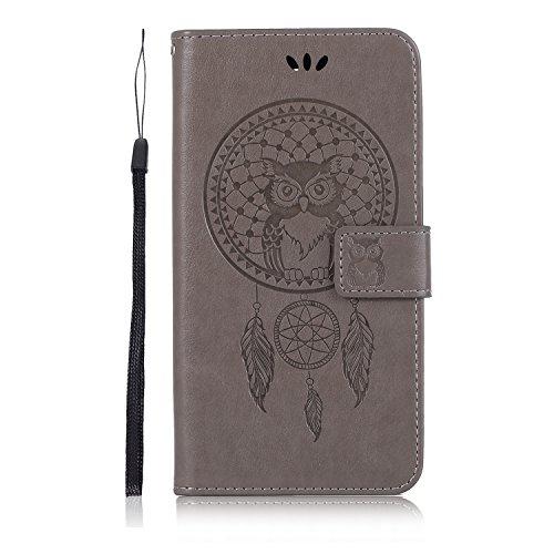 Sunrive Hülle Für LG Q7, Magnetisch Schaltfläche Ledertasche Schutzhülle Hülle Handyhülle Schalen Handy Tasche Lederhülle(Grau Eule)